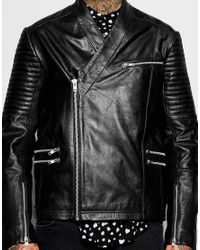 9030edafd Men's Leather Jacket With Kimono Neckline In Black