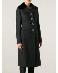 Dolce & Gabbana - Gray Single Breasted Long Coat - Lyst