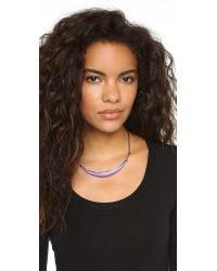 Alexis Bittar Metallic Pave Liquid Metal Crescent Collar Necklace - Magenta