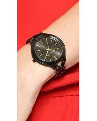Michael Kors Midnight Safari Slim Runway Twist Watch Black