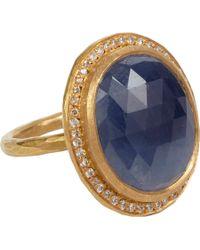 Malcolm Betts | Blue Diamondframed Sapphire Gold Ring | Lyst