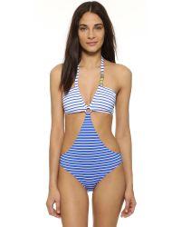 Moschino Multicolor Stripe Cutout One Piece Swimsuit