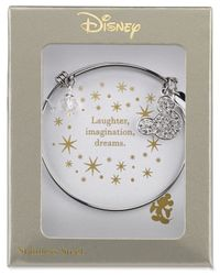 Disney | Metallic Mickey Mouse Crystal Charm Bracelet In Stainless Steel With Silver-plated Charms | Lyst