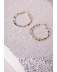 Missguided - Metallic Thin Chain Hoop Earrings Gold - Lyst