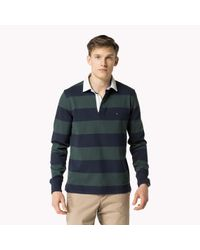 Tommy Hilfiger | Green Cotton Striped Rugby Shirt for Men | Lyst