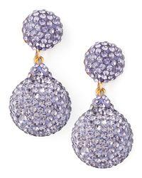 Jose & Maria Barrera Purple Pave Crystal Doubledrop Earrings Lavender