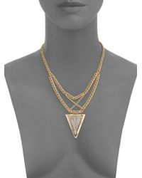 Saks Fifth Avenue - Metallic Multi-chain Triangle Pendant Necklace/goldtone - Lyst