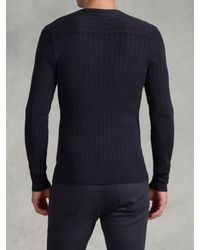 John Varvatos Blue Plaited Long Sleeve Cable Sweater for men