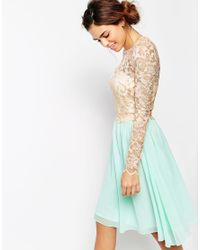 Little Mistress Blue Long Sleeve Lace Top Dress With Full Skirt