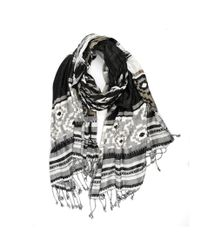 Michael Stars | Gray Viscose Scarf With Native Inspired Jacquard Art | Lyst
