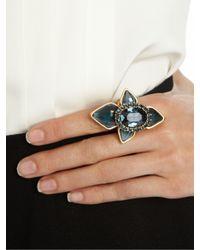 Oscar de la Renta - Blue Navy Resin  Crystal Cocktail Ring - Lyst