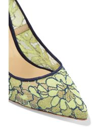 Nicholas Kirkwood Green Angie Lace And Suede Pumps