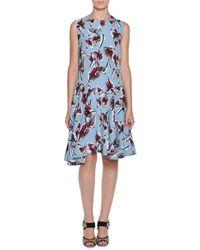 Marni - Blue Dropped-waist Floral-print Dress - Lyst