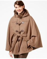 Calvin Klein | Natural Toggle-front Cape Coat | Lyst