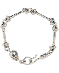 Alexander McQueen - Metallic Silver Skull & Bone Link Bracelet for Men - Lyst