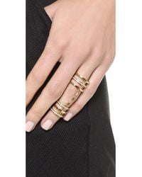 Michael Kors Metallic Statement Knuckle Ring With Pave Crystals - Gold/Clear