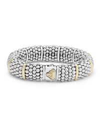 Lagos | Metallic Silver Caviar Oval Bracelet With 18k Gold | Lyst