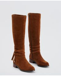 Ann Taylor | Brown Lois Suede Tie Boots | Lyst