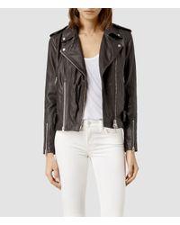 AllSaints - Gray Addison Leather Biker Jacket - Lyst