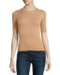 Michael Kors - Brown Short-Sleeve Ribbed Cashmere Crewneck - Lyst