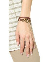 Michael Kors Metallic Maritime 3 Link Double Wrap Leather Bracelet - Gold/Luggage