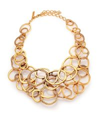 Oscar de la Renta | Metallic Circle Cluster Bib Necklace | Lyst
