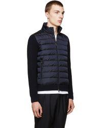 Moncler Blue Navy Quilted Knit Jacket for men