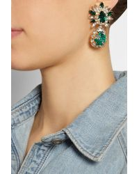 Shourouk | Green Comet Gold-Plated, Swarovski Crystal And Sequin Clip Earrings | Lyst