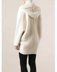 Barbara Bui White Oversized Hooded Cardigan
