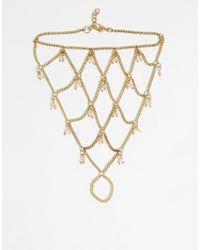 ASOS - Metallic Beach Bead Foot Chain - Lyst
