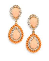 Kenneth Jay Lane | Orange Cabochon Clip-on Teardrop Earrings | Lyst