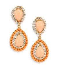 Kenneth Jay Lane | Orange Cabochon Clip-on Teardrop Earrings | Lyst