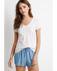 Forever 21 | Gray Striped V-neck Tee | Lyst