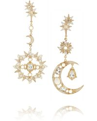 Percossi Papi | Metallic Diego Sun and Moon Goldplated Multistone Earrings | Lyst