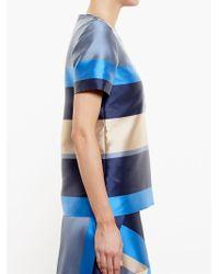 Ostwald Helgason - Blue Striped Mikado Silk Top - Lyst