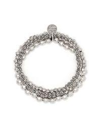 Philippe Audibert Metallic Triple Metal Bead Elastic Bracelet
