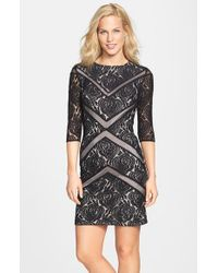 Julia Jordan - Black Mesh Inset Rose Lace Sheath Dress - Lyst