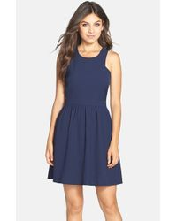 Charles Henry - Blue Crepe Fit & Flare Dress - Lyst
