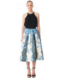 Tibi Blue Sidewalk Floral Flare Skirt