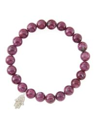 Sydney Evan | Purple 8Mm Natural Ruby Beaded Bracelet With 14K White Gold/Diamond Small Hamsa Charm (Made To Order) | Lyst