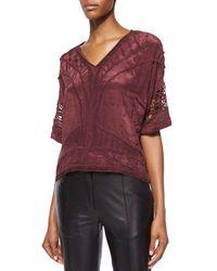 IRO - Purple Brynn Embroidered Half-sleeve Top - Lyst