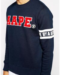 Aape Blue By A Bathing Ape Sweatshirt With Applique for men