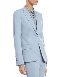 Gucci Blue Silk Wool Stretch Drill Jacket