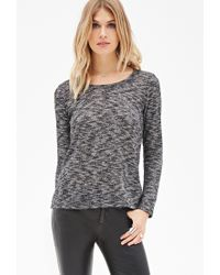 Forever 21 - Black Contemporary Two-tone Paneled Knit Top - Lyst