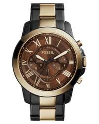 Fossil | Black 'grant' Chronograph Bracelet Watch for Men | Lyst