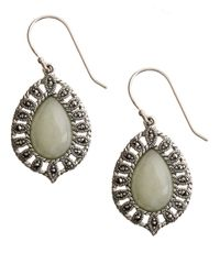 Lord & Taylor Metallic Sterling Silver And Marcasite Jade Drop Earrings