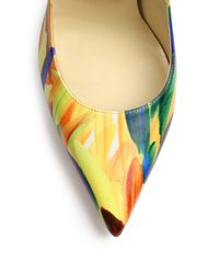 Jimmy Choo - Yellow Anouk 120 Feather-print Leather Pumps - Lyst