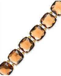Lauren by Ralph Lauren - Metallic Goldtone Large Faceted Stone Flex Bracelet - Lyst