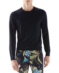Gucci Blue Wool-cashmere Sweater With Leather Detail for men