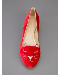Charlotte Olympia Red Sleeping Kitty Loafer